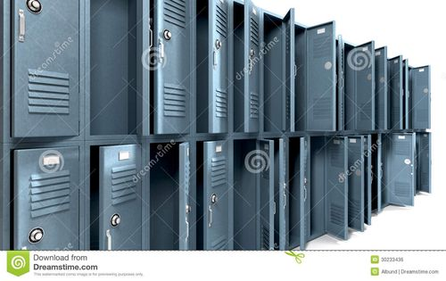 Perspective-view-stack-ransacked-blue-metal-school-lockers-combination-locks-open-doors-isolated-30233436